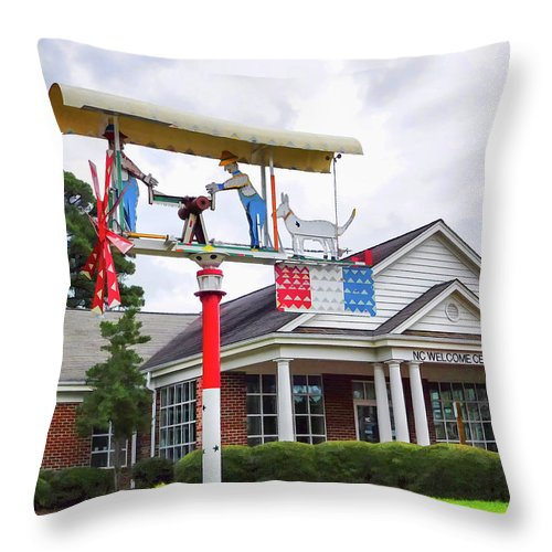 Giant Folk-art Weathervane Throw Pillow featuring the painting Giant Folk-art Weathervane 1 by Jeelan Clark