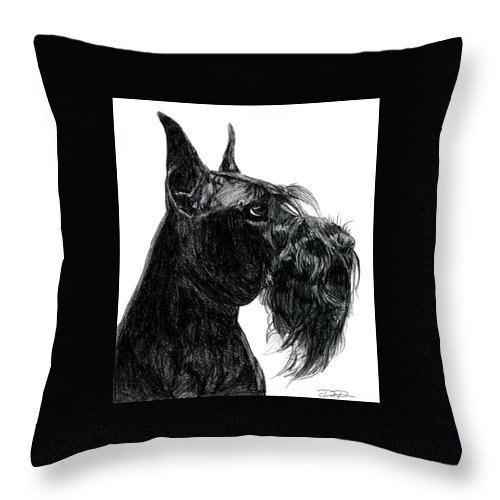 Giant Schnauzer Throw Pillow featuring the drawing Giant Schnauzer by Dan Pearce