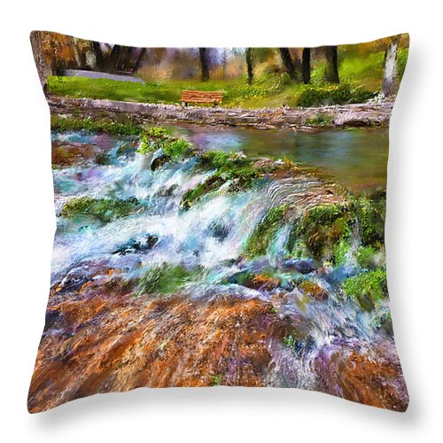Giant Springs Throw Pillow featuring the digital art Giant Springs 2 by Susan Kinney