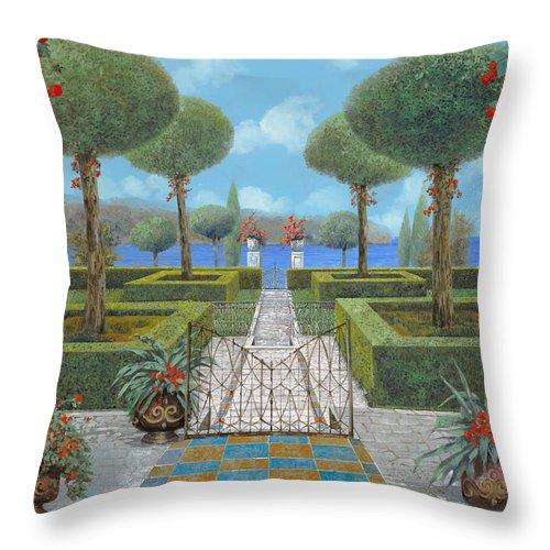 Italian Garden Throw Pillow featuring the painting Giardino Italiano by Guido Borelli