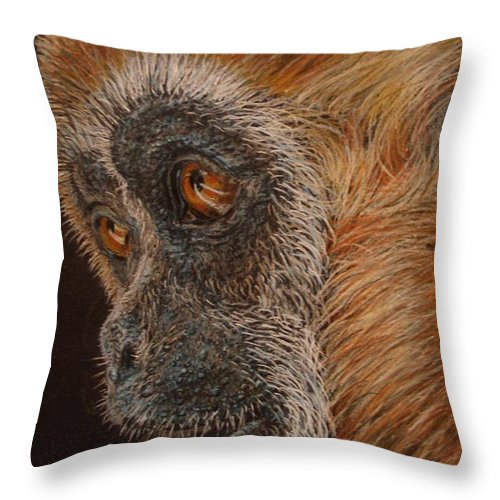 Animals Throw Pillow featuring the drawing Gibbon by Karen Ilari