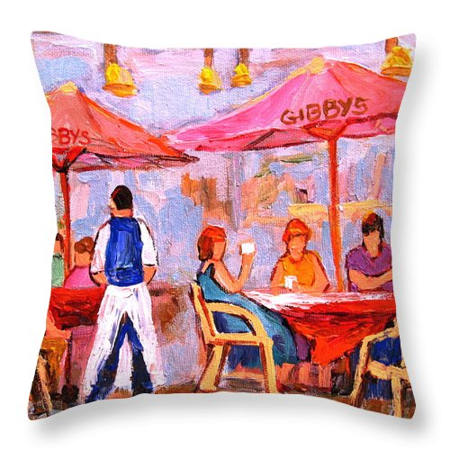 Gibbys Restaurant Montreal Street Scenes Throw Pillow featuring the painting Gibbys Cafe by Carole Spandau
