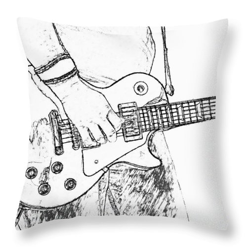 Les Paul Throw Pillow featuring the digital art Gibson Les Paul Guitar Sketch by Randy Steele
