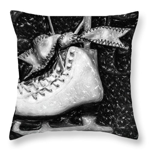 Gift Of Ice Skating Throw Pillow featuring the painting Gift Of Ice Skating by David Millenheft