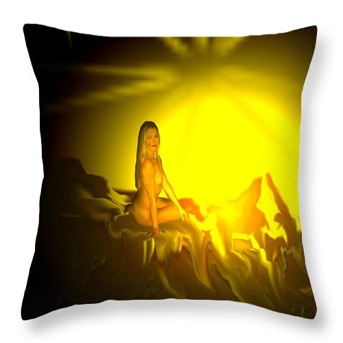 Nude Naked Sun Drawing Digital Mountain Earth Star Woman Throw Pillow featuring the digital art Gift Of Sun by Andrea Lawrence