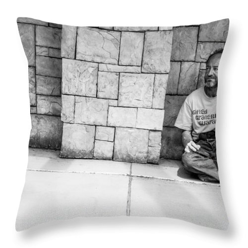 Fremont Street Experience Throw Pillow featuring the photograph Gifted Grateful And Guaranteed by SR Green