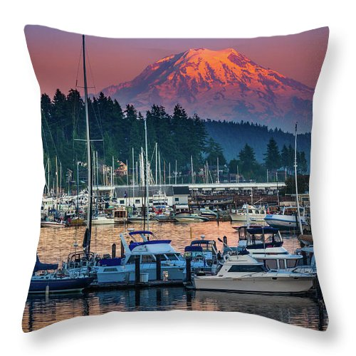 America Throw Pillow featuring the photograph Gig Harbor Dusk by Inge Johnsson