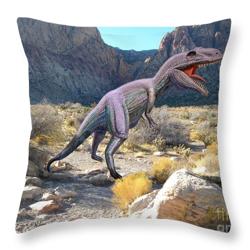 Gigantosaurus In The Desert Throw Pillow For Sale By Frank Wilson