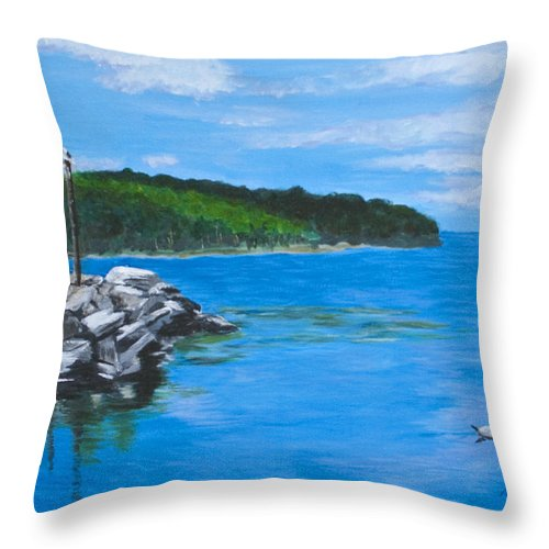 Gills Rock Throw Pillow featuring the painting Gills Rock by Peggy King