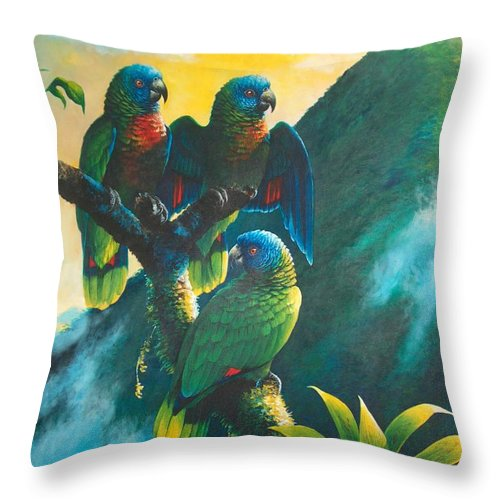 Chris Cox Throw Pillow featuring the painting Gimie Dawn 1 - St. Lucia Parrots by Christopher Cox