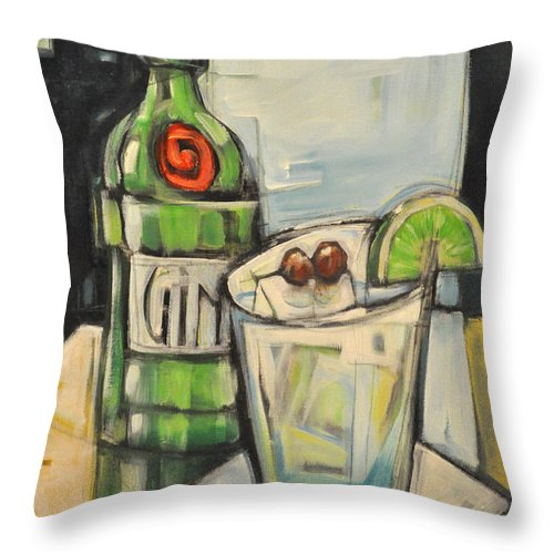 Gin Throw Pillow featuring the painting Gin Gimlet by Tim Nyberg