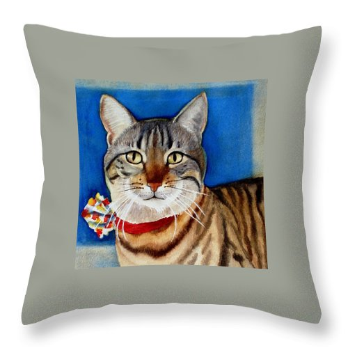 Cat Throw Pillow featuring the painting Ginger by Marilyn Jacobson