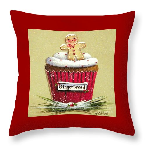 Art Throw Pillow featuring the painting Gingerbread Cookie Cupcake by Catherine Holman