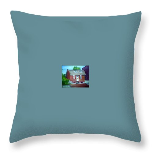 Revell House Throw Pillow featuring the painting Gingerbread House by Sheila Mashaw