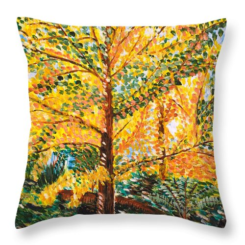 Tree Throw Pillow featuring the painting Gingko Tree by Valerie Ornstein