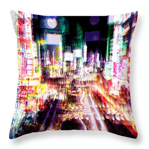 Tokyo Throw Pillow featuring the digital art Ginsa Glitz by Seth Weaver