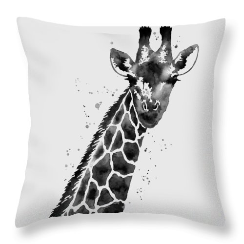 Giraffe Throw Pillow featuring the painting Giraffe In Black And White by Hailey E Herrera