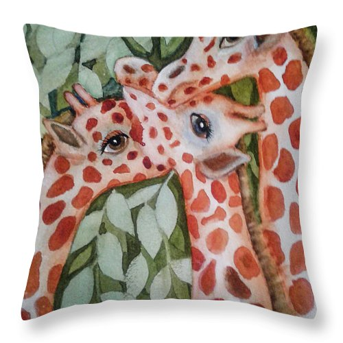 Painting Throw Pillow featuring the painting Giraffe Trio By Christine Lites by Allen Sheffield
