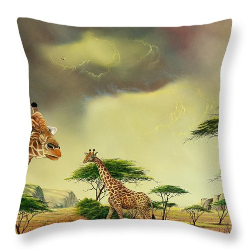 Landscape Throw Pillow featuring the painting Giraffes At Thabazimba by Don Griffiths