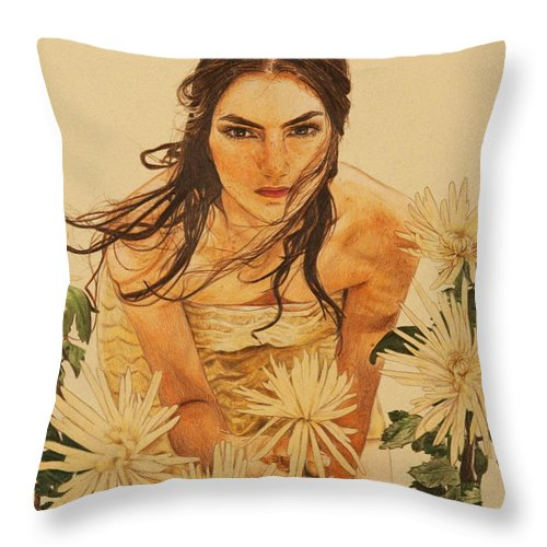 Girl Throw Pillow featuring the drawing Girl Among The Flowers by Michelle Miron-Rebbe