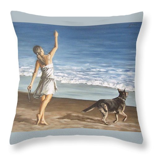 Portrait Girl Beach Dog Seascape Sea Children Figure Figurative Throw Pillow featuring the painting Girl And Dog by Natalia Tejera