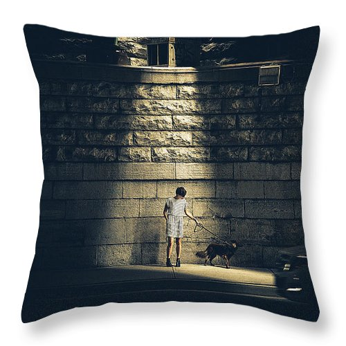 Dog Art Throw Pillow featuring the painting Girl And Dog by Queso Espinosa