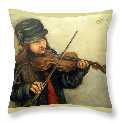 Girl Kid Child Music Violin Portrait Figurative Throw Pillow featuring the painting Girl And Her Violin by Natalia Tejera