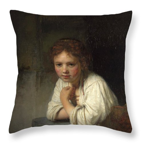 Rembrandt Throw Pillow featuring the painting Girl At A Window by Rembrandt