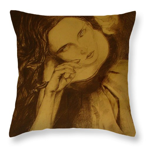 Art Drawings Throw Pillow featuring the drawing Girl Dancing by Cristina Rettegi
