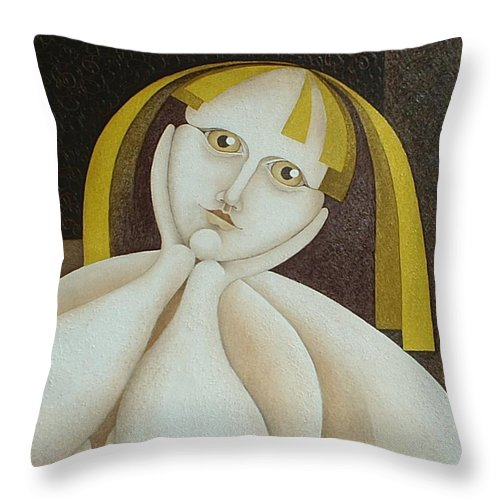 Sacha Circulism Circulismo Throw Pillow featuring the painting Girl From Chile  2005 by S A C H A - Circulism Technique