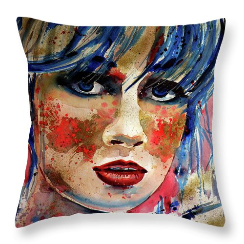 Girl Throw Pillow featuring the painting Girl In Blue And Gold by Kovacs Anna Brigitta