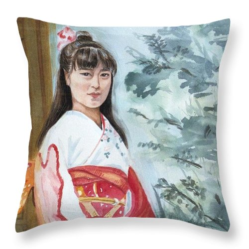 Japanese Girl In Kimono Throw Pillow featuring the painting Girl In Kimono by Judy Swerlick