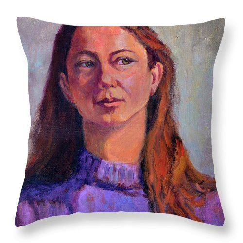 Portrait Throw Pillow featuring the painting Girl In Purple by Keith Burgess