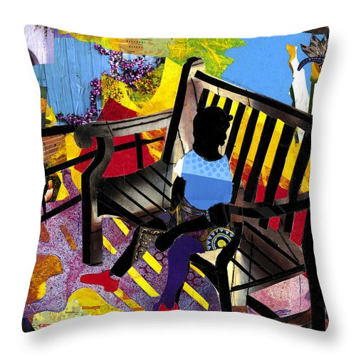 Everett Spruill Throw Pillow featuring the painting Girl In Red Shoes by Everett Spruill
