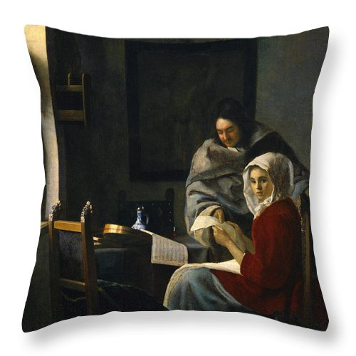 Jan Vermeer Throw Pillow featuring the painting Girl Interrupted At Her Music by Jan Vermeer