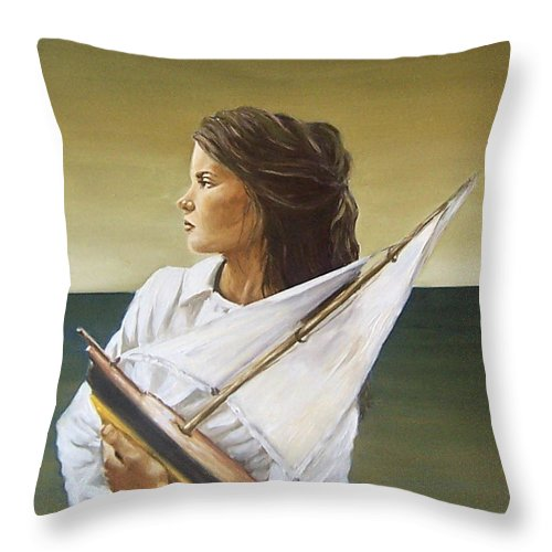 Little Girl Kid Children Portrait Figurative Seascape Sea Toy Throw Pillow featuring the painting Girl by Natalia Tejera