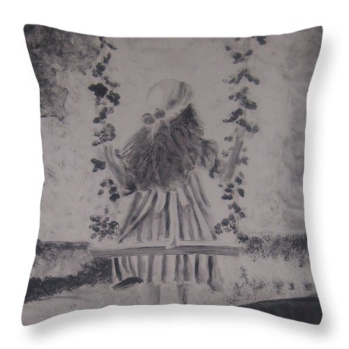 Girl Throw Pillow featuring the painting Girl On A Swing by Emily Young