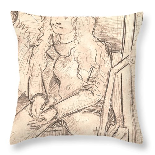 Young Girl Throw Pillow featuring the drawing Girl On A Train by Al Goldfarb
