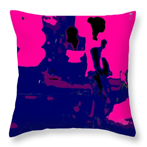 Girl Throw Pillow featuring the photograph Girl Passing Coconut Vendor Reading by Ian MacDonald