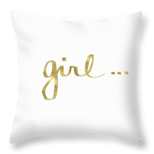Little Black Dress Throw Pillow featuring the painting Girl Talk Gold- Art by Linda Woods by Linda Woods