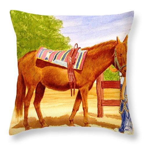 Equine Throw Pillow featuring the painting Girl Talk by Stacy C Bottoms
