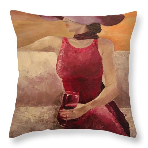 Girl Throw Pillow featuring the painting Girl With A Glass by Nataliia Fialko