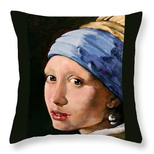 Portrait Throw Pillow featuring the painting Girl With A Pearl Earring A Reproduction Of Vermeer by Joan Garcia