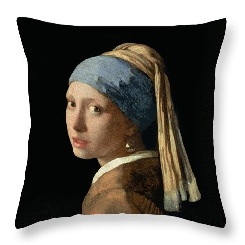 Jan Vermeer Throw Pillow featuring the painting Girl With A Pearl Earring by Jan Vermeer