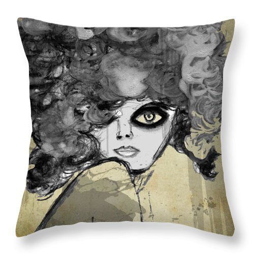 Mixed Media Throw Pillow featuring the mixed media Girl With Black Eye by Carol Loethen