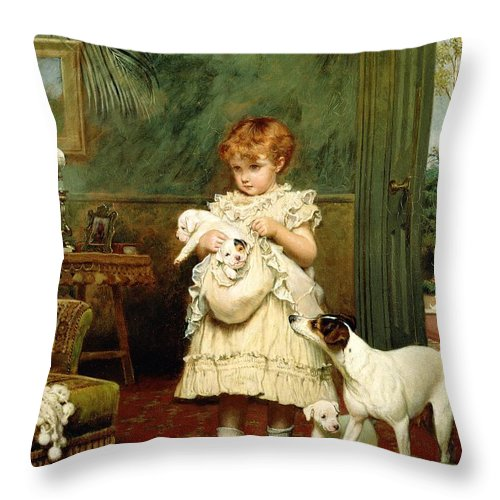 Girl With Dogs Throw Pillow featuring the painting Girl with Dogs by Charles Burton Barber