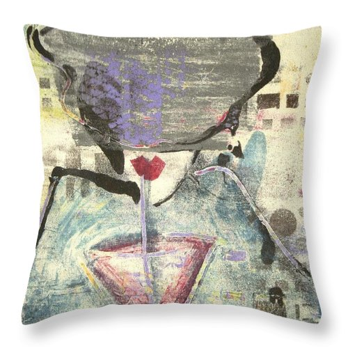 Cafe Throw Pillow featuring the painting Girl With Drink by Maryn Crawford