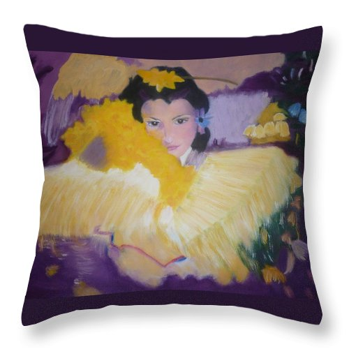 Girl Throw Pillow featuring the painting Girl With Flowers by Rosemarie Perks