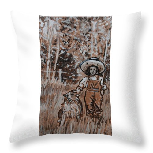 Historical Throw Pillow featuring the painting Girl With Hat And Dog Historical Vignette by Dawn Senior-Trask