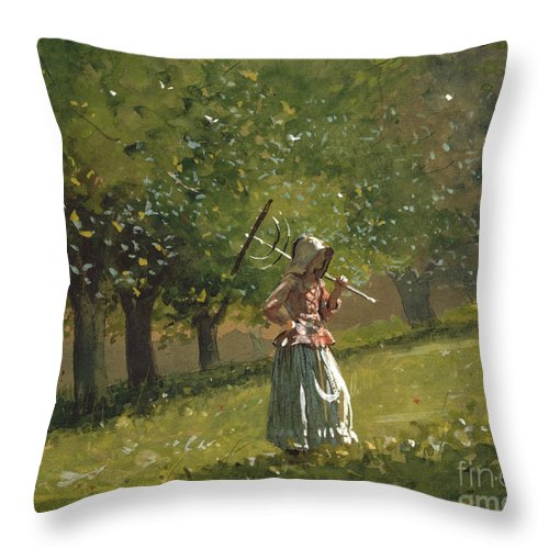 Girl With Hay Rake Throw Pillow featuring the painting Girl With Hay Rake by Celestial Images